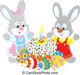 Easter cake and painted eggs - Little bunnies celebrating...