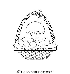 Easter cake. Basket with eggs outline