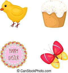 Easter cake, chicken, butterfly and greeting sign.Easter set collection icons in cartoon style vector symbol stock illustration web.