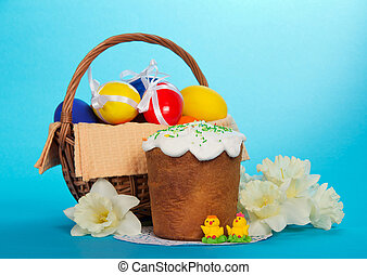 Easter cake, marzipans, flowers and eggs - Easter cake,...