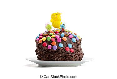 Easter cake on white background. Fun kids chocolate cake.