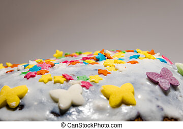 Easter cake on white background with own hands