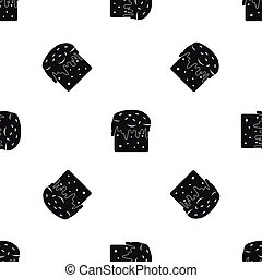 Easter cake pattern seamless black