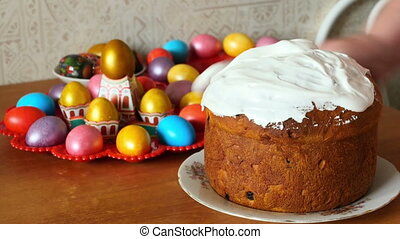 Easter cake smeared with cream