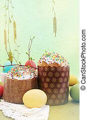 Easter cake with colored eggs - Holidays, Slavic Easter cake...