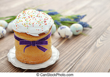 Easter cake with colorful eggs