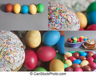 Easter cakes and colored eggs collage