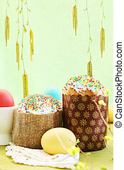 Easter cakes with eggs, copy-space