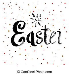 Easter Calligraphy Greeting Card with Text.
