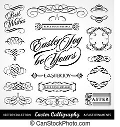 easter calligraphy set, useful decoration elements; scalable and editable vector illustration;