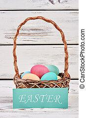 Easter card and egg basket.