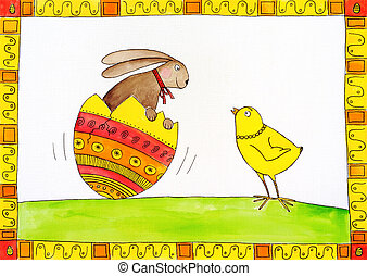 Easter card, child's drawing, watercolor painting on canvas paper