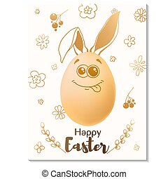 Easter card design. Realistic eggs with painted elements. Happy easter. Vector
