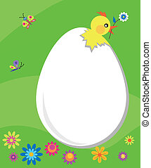 Easter card; egg with breaking chick