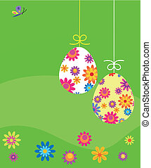 Easter card; eggs with flower template