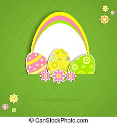Easter card - Green paper card with Easter eggs,...