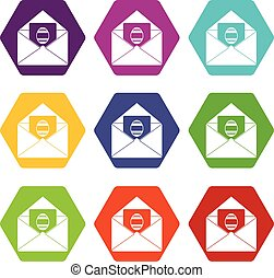 Easter card icon set color hexahedron