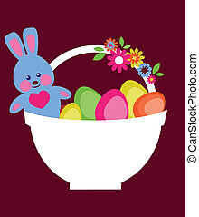 Easter card of basket with eggs and bunny
