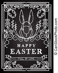 Easter card on the chalkboard.