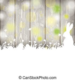 Easter Card Rabbit Wooden Wall
