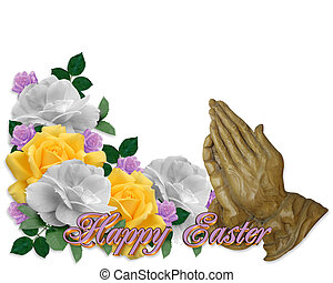 Easter Card Roses Praying Hands - Image and illustration...