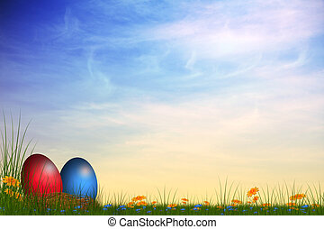 easter card - festive card with colored easter eggs on a...