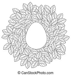 Easter card template with egg in linear leaves nest