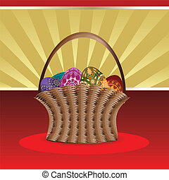 Easter card with basket of eggs