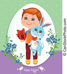 Easter card with boy