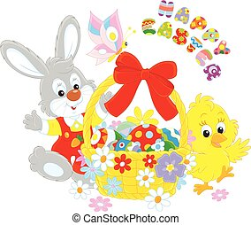 Easter card with Bunny and Chick - A little grey rabbit and...