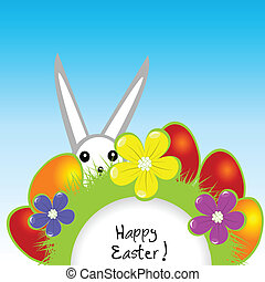Easter card with bunny and eggs