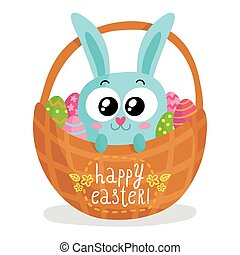 Easter card with bunny in basket