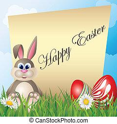 Easter card with cartoon bunny