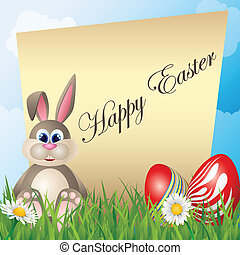Easter card with cartoon bunny
