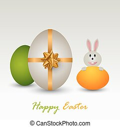 Easter card with colored eggs and bunny