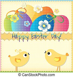 Easter card  with colored eggs
