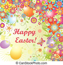 Easter card with colorful eggs and flowers
