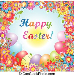 Easter card with colorful flowers