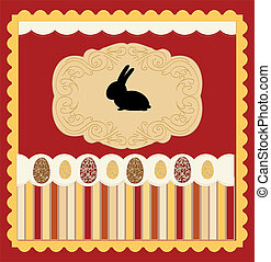 Easter card with egg decorated vect