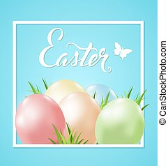 Easter card with eggs and grass