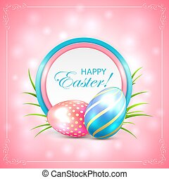 Easter card with eggs on pink background