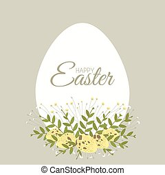 Easter card with floral elements and quail hen eggs
