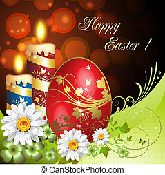 Easter card with flowers, candles and decorated egg