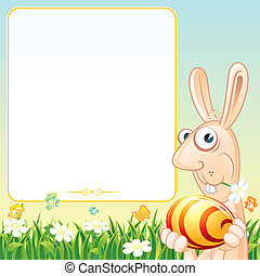 Easter Card with Funny Bunny. Cartoon Illustration