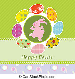 Easter card with happy bunny
