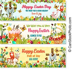 Easter cartoon banner with spring holiday symbols