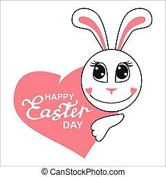 Easter cartoon bunny muzzle with heart