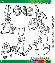 Easter cartoons for coloring book
