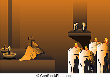 Easter celebration - A vector illustration of candles and...