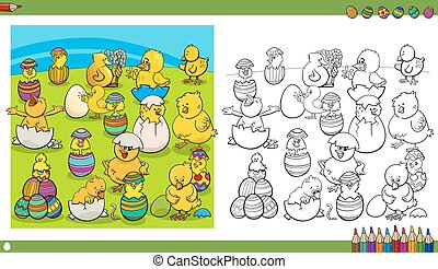 easter characters coloring book - Black and White Cartoon...